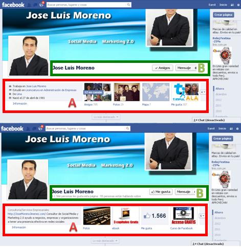 diferencias entra un perfil personal y una pagina de seguidores (vista externa)