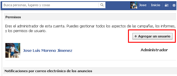 agregar un usuario en facebook ads