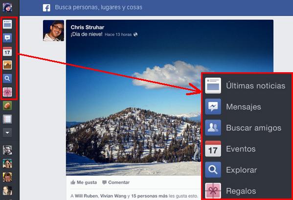 iconos, marcadores y chat facebook lado izquierdo