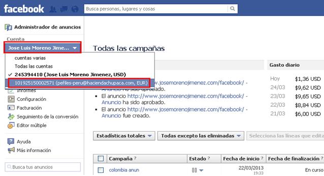 divisas cuenta publicitaria facebook 1