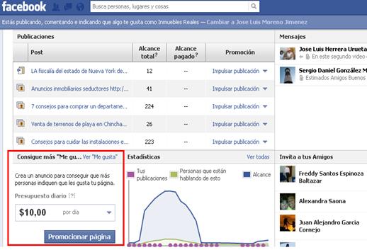 paginas promocionadas publicidad de facebook