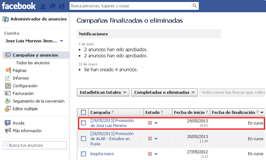 panel de control facebook ads paginas promocionadas