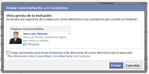 sugerir pagina - ejemplo de mensaje que llegara a nuestros contactos de facebook