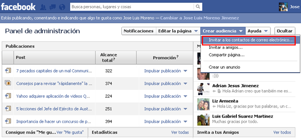 pagina de facebook - sugerir a contactos por correo electronico