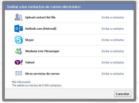 sugerir pagina de facebook por email - otros servicios de correo