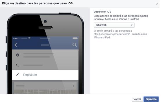 boton llamado accion facebook ios