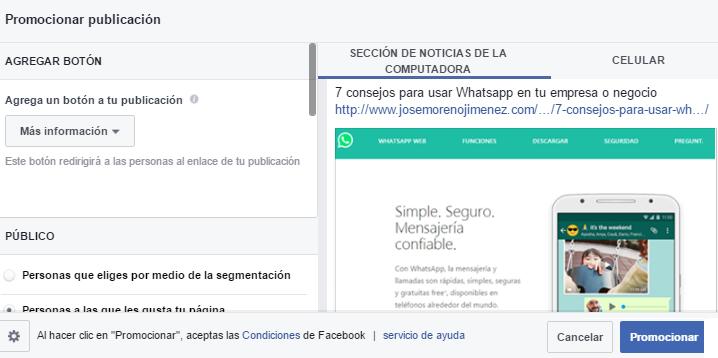 Promocionar publicación: Herramienta simplificada de anuncios de Facebook Ads