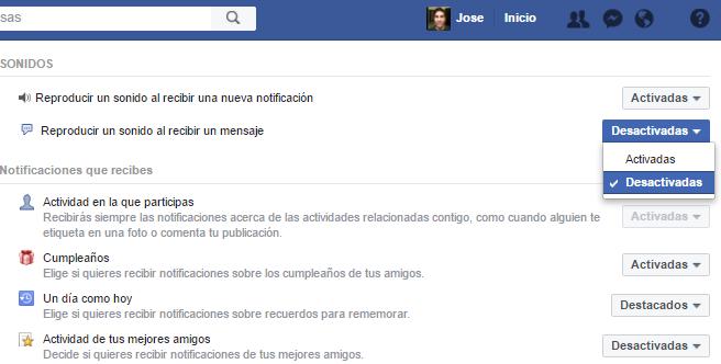 Desactivar notificaciones en nuestro perfil de Facebook