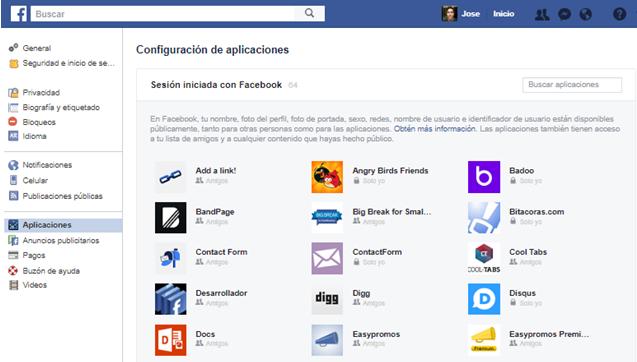 Como eliminar aplicaciones en nuestro perfil de Facebook