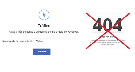 Normas de Facebook Ads: Página de destino no funcional