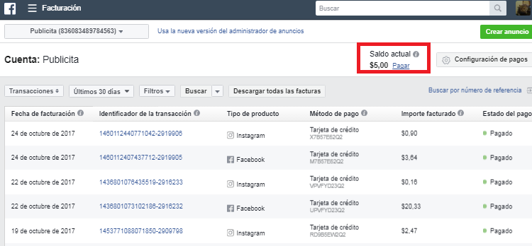 separar facturas facebook ads
